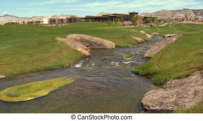 stream flows through golf course