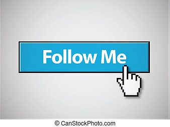 Follow Me button - Blue follow me button with mouse cursor...