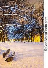 Bench and decorated snowy alley - Empty snowy bench at the...