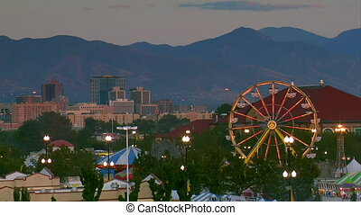 wide shot of Carnival with mountains