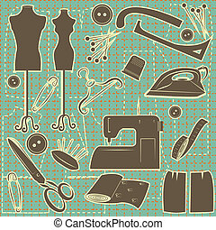 sewing symbol seamless pattern.Vector tailoring background