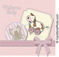 Baby shower card with cute cow toy
