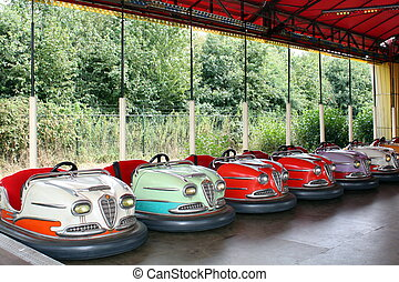 Colored bumper cars - Funny colored bumper cars at the fair