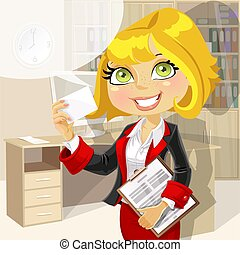 Lady in office showing businesscard - Business lady in...