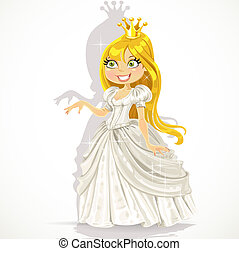 Cute princess in a white dress gives a hand expressing a...