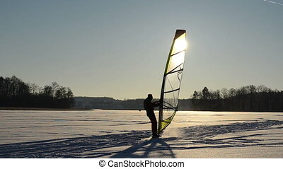 sunset lake man ice surf