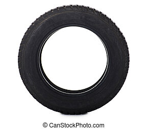 Automobile tire isolated on white background
