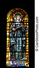 Saint Rita, stained glass in the Cathedral of St Vincent de...