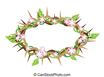 A Crown of Thorns with Fresh Leaves - An Illustration of...
