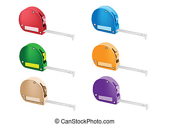 Colorful Illustration Set of Tape Measure Icons - An...