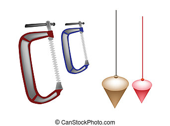 Colorful Illustration Set of Plumb Bob and Clamp - An...