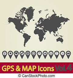 World map icon 4 - Map with Navigation Icons. Vol. 4. Vector...