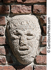 ancient american stone bas-relief - Brick wall decoration -...