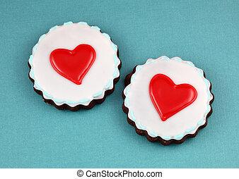 Love Cookies - Love cookies on teal background.