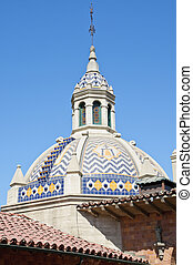 Vintage Spanish style architecture in California - cupola...
