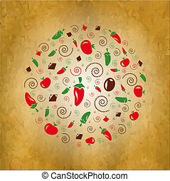 Vintage Background With Icons Vegetables
