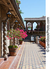 Vintage Spanish style architecture with terrace perspective...