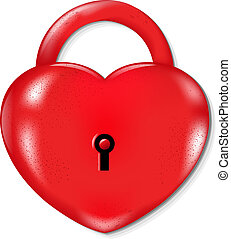 Heart Lock With Gradient Mesh, Isolated On White Background,...