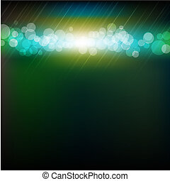 Blue And Green Bokeh With Blur With Gradient Mesh, Vector...