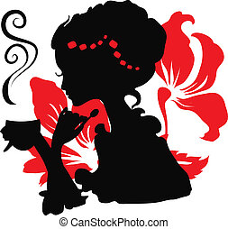 Woman silhouette with a cup of coffee.