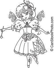 Fairy Cartoon Outline drawing - Fairy cartoon outline...