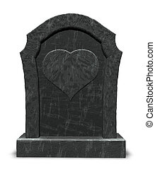 dead love - gravestone with heart symbol on white background...