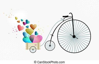 Retro bike taking love - Valentine day vintage bike of love....