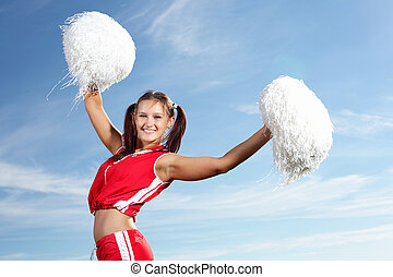 Young female cheerleader - Young beautiful female...