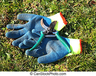 work tool - gloves and shears in the grass