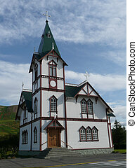 husavik church - church of husavik, north iceland