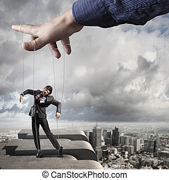 Business man marionette - Businessman marionette on ropes...