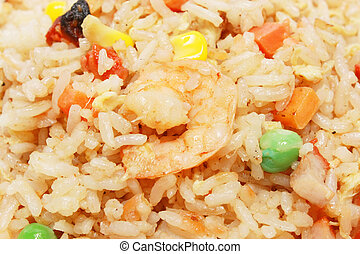 Fried Rice Detail - Chinese fried rice close up as...