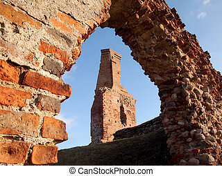 Photo of the ruins of an old castle in Besiekierach, Poland, Lodz Province