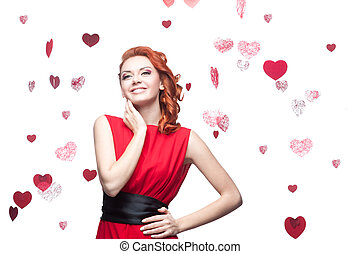 smiling red-haired girl - young smiling red-haired caucasian...