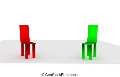 3d red and green chair