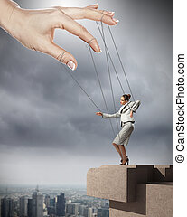 Business woman marionette - Businesswoman marionette on...