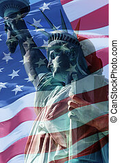 Liberty Flag - combination of the staue of liberty and the...
