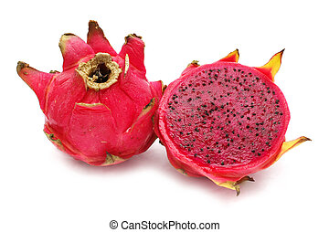 Red Dragon Fruit - An half red dragon fruit beside the...