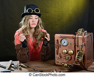 Phone repair - Steam punk girl repairing Phone Telephone -...