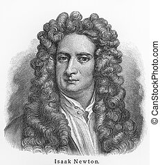 Isaac Newton - Picture from Meyers Lexicon books written in...