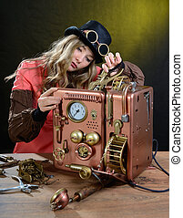 Phone repair. - Steam punk girl repairing Phone. Telephone -...