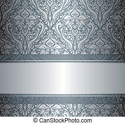 Silver luxury vintage wallpaper with copyspace