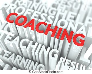 Coaching Concept. The Word of Red Color Located over Text of...