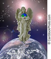 Beschermer, engel, Planeet, Aarde
