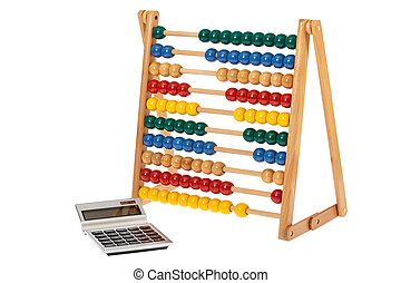 Abacus and a pocket calculator - Traditional abacus with...