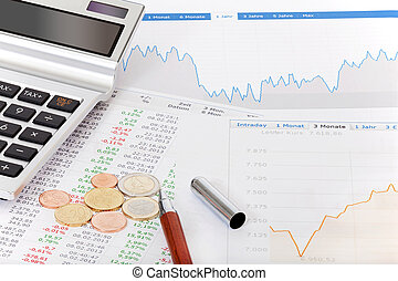 Stock quotes, calculator and money on desk - Stock quotes,...