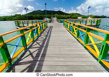 Colorful Bridge and Islands - A colorful bridge connecting...
