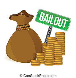 Bailout. Money bag sign illustration design over a white...