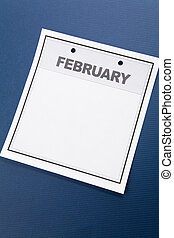 February - Blank Calendar, February, with blue background