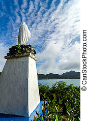 White Virgin Mary Statue - Statue of the Virgin Mary looking...